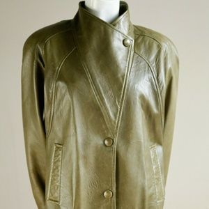 90s Olive Green Leather Jacket Danier Leather